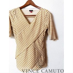 Vince Camuto metallic double faux wrapped blouse